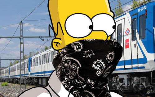 homer simpson train bomber